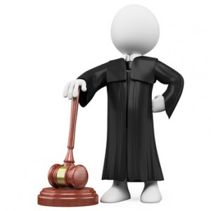 3D judge with robe and hammer